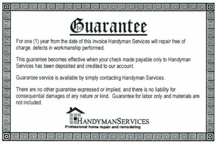 Written Guarantee - Handyman Services Indianapolis
